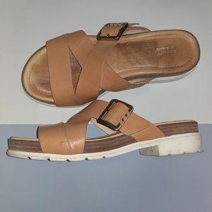 EUC Leather platform sandals Dr. Scholl's Original